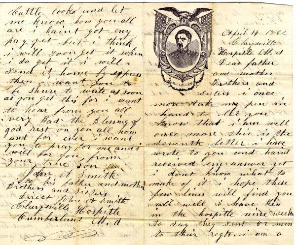 1015: Civil War ALS Soldier Letter Signed Clarysville H