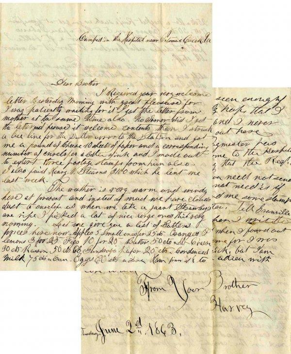 1247: Civil War Soldier Letter Signed ALS Hospital