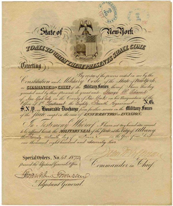 1248: Discharge Document Signed John Hoffman Civil War