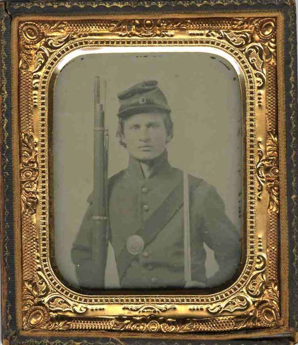 1809: Civil War Ambrotype Soldier Rifle Sword Photo