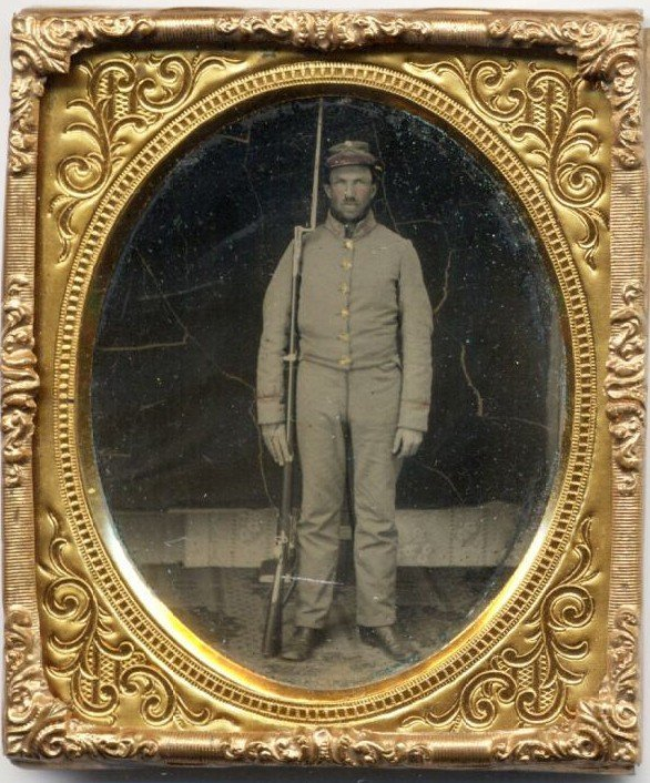 1810: Civil War Ambrotype Confederate Soldier Rifle