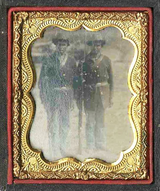 1890: Civil War Tintype Armed Soldiers Photograph
