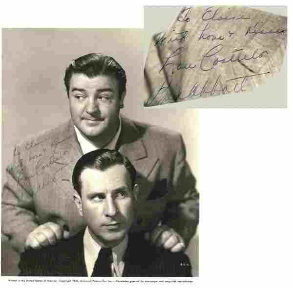 35: Abbott Costello Signed Photo 1944 Comedy Duo Sig