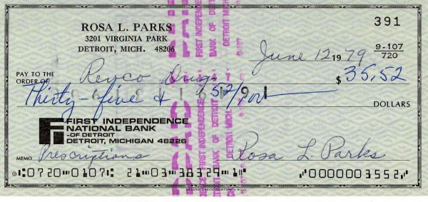 462: Rosa Parks Check Signed Civil Rights Signature