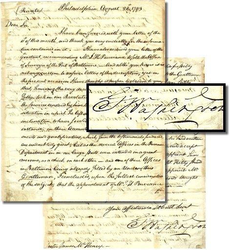 470: President George Washington ALS Signed Letter Sig