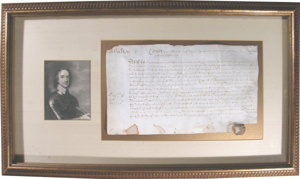472: Oliver Cromwell Signed Document DS Real Estate