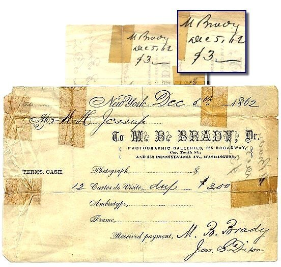 480: 1862 Mathew Brady Signed Photo Autograph