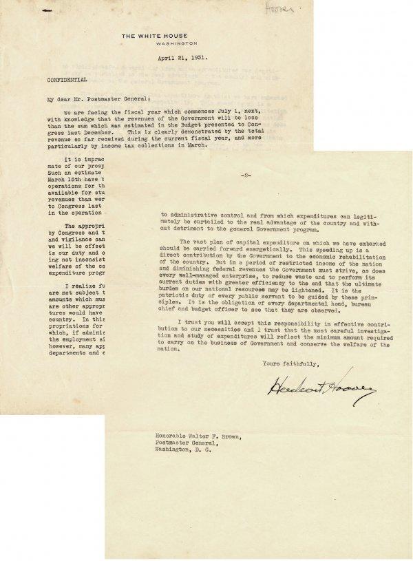 485: President Herbert Hoover Confidential TLS Signed S