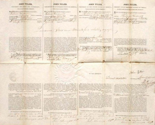President John Tyler 1841 Document Signed DS