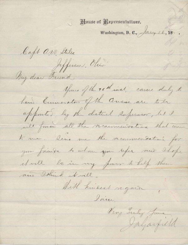 524: President James Garfield ALS Signed Autograph
