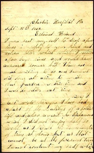 1404: Civil War Soldier Letter Signed Chester ALS