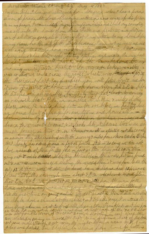 1405: Civil War Soldier Letter Signed 103rd OH ALS