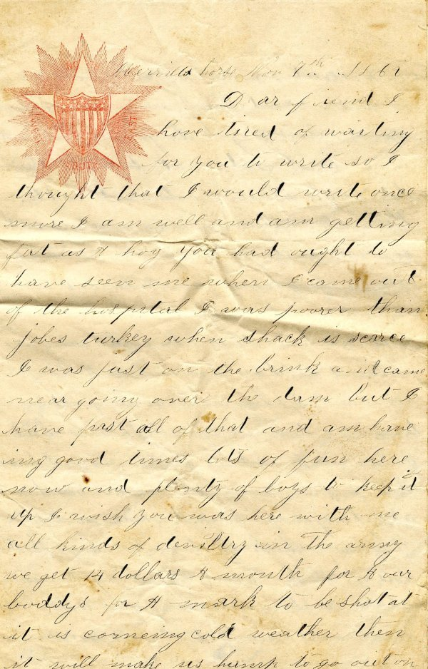 1407: MO Soldier Letter ALS Signed Autograph Civil War