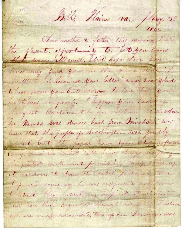 1413: Civil War Soldier Letter Signed ALS Skirmishes