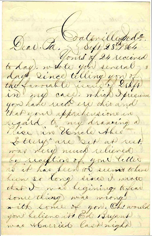 1415: Civil War Soldier Letter Signed Draftee ALS