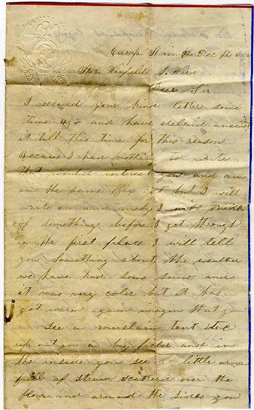 1418: Civil War Union Soldier Letter Signed ALS