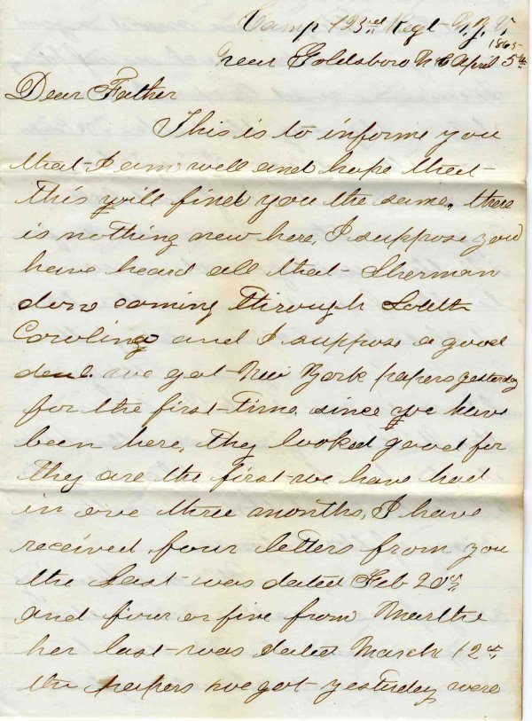 1422: Civil War Soldier Letter Signed ALS War End