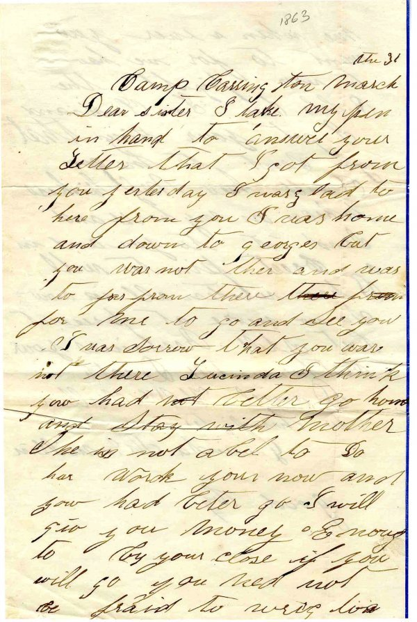 1772: IN Soldier Letter ALS Signed Autograph Civil War