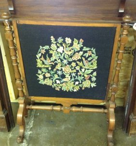 Victorian Fire Screen Needle Point