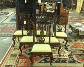 6 Ball And Paw Chippendale Chairs Set