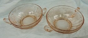 2 Depression Glass Mayfair Cream Soup Bowl