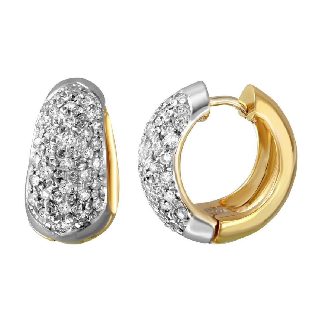 Genuine 2 TCW 14K Two Tone Gold Ladies Earring