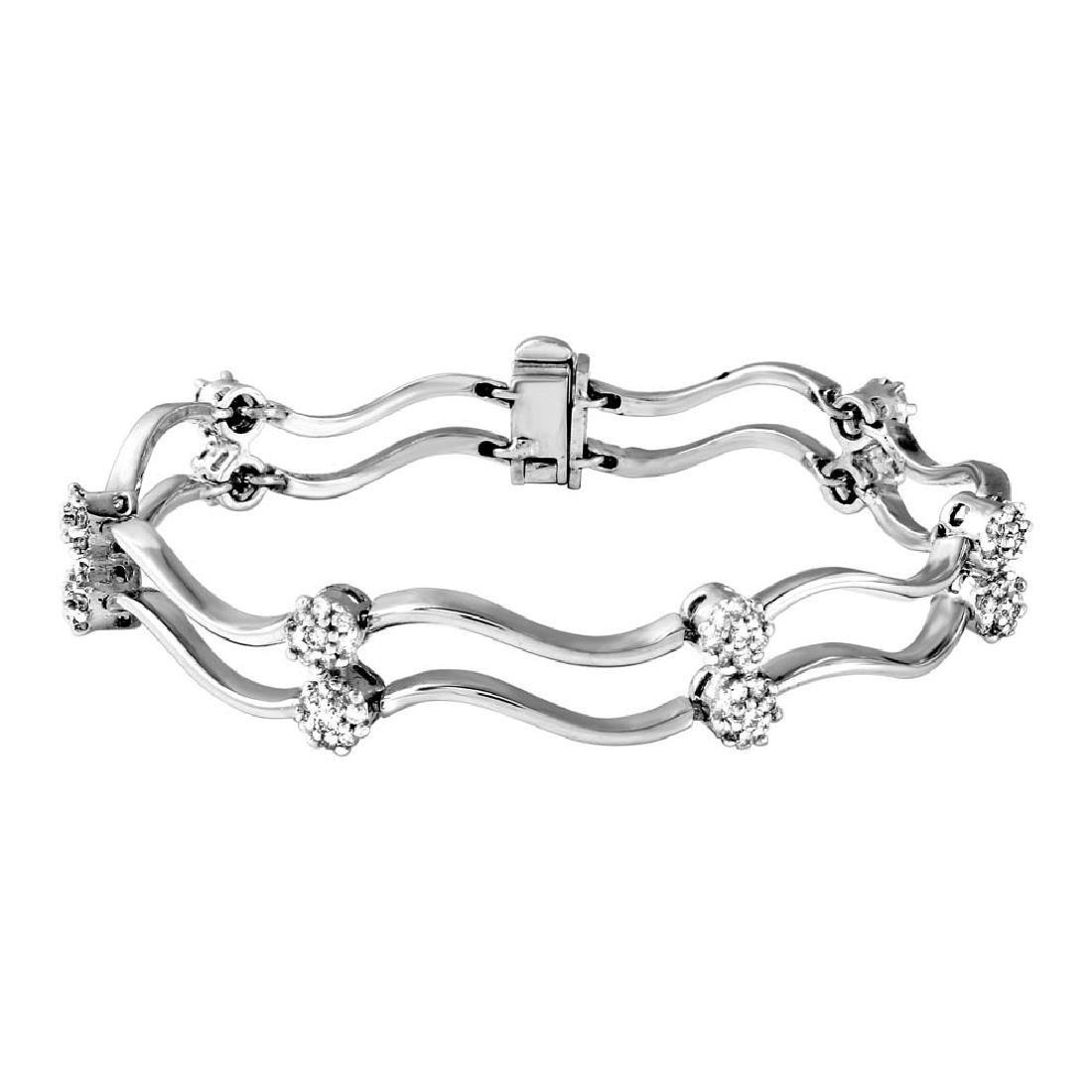 Genuine 1.88 TCW 18K White Gold Ladies Bracelet