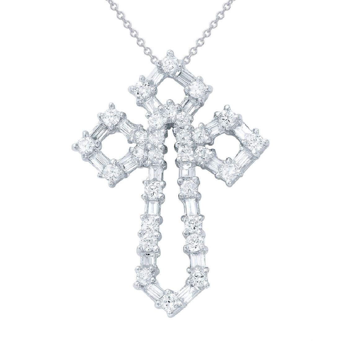 Genuine 1.48 TCW 18K White Gold Ladies Necklace