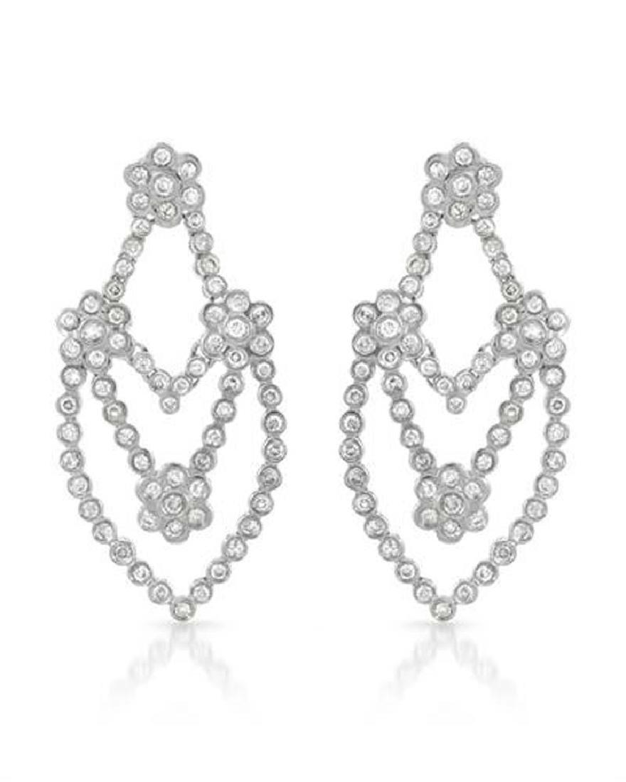 Genuine 2.09 TCW 14K White Gold Ladies Earring
