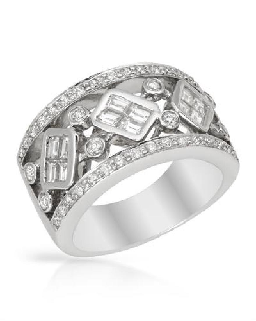 Genuine 1.29 TCW 18K White Gold Ladies Ring