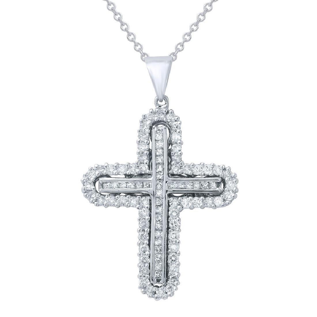 Genuine 0.9 TCW 14K White Gold Ladies Necklace