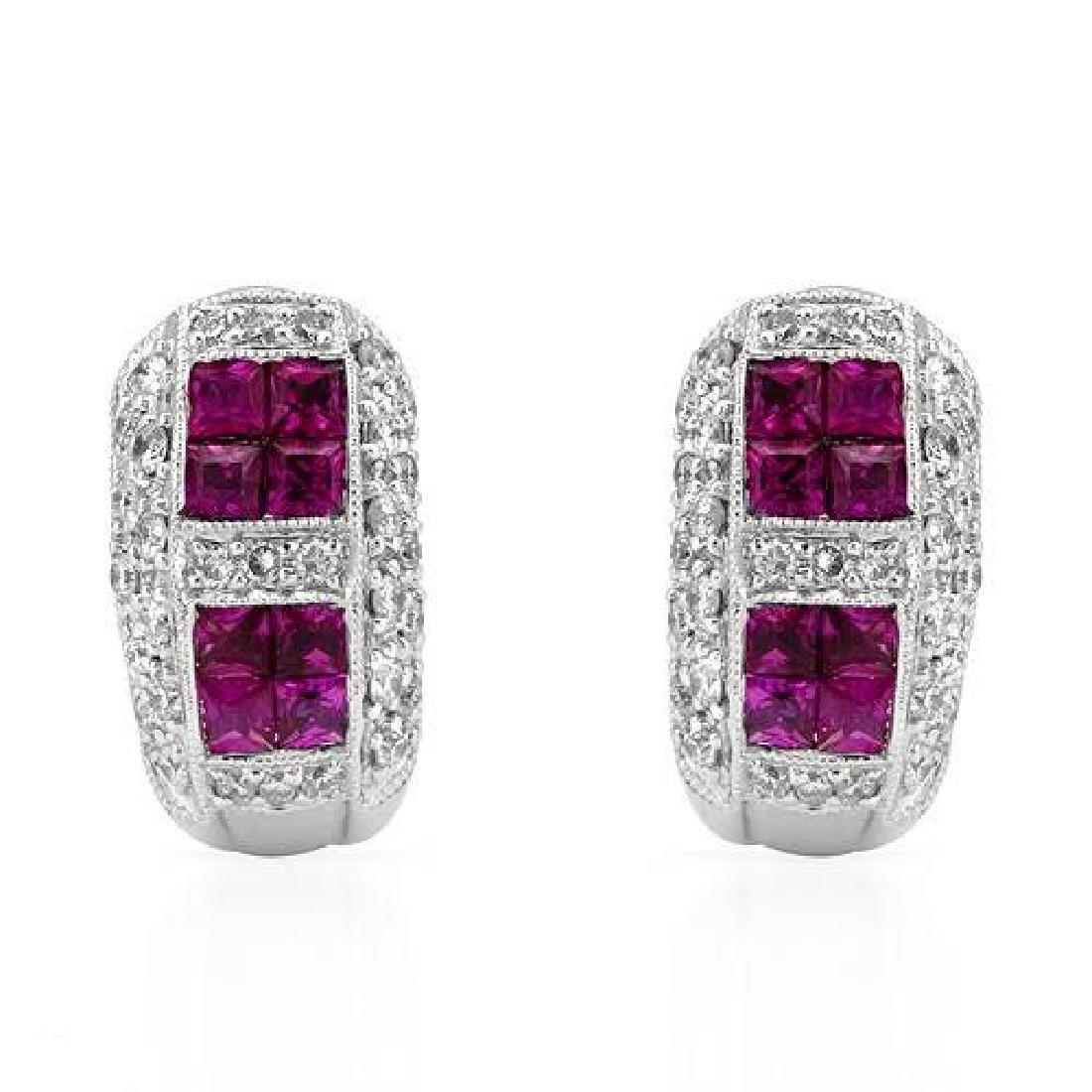 18K White Gold 2.1CTW Ladies Ruby&Diamond Earring