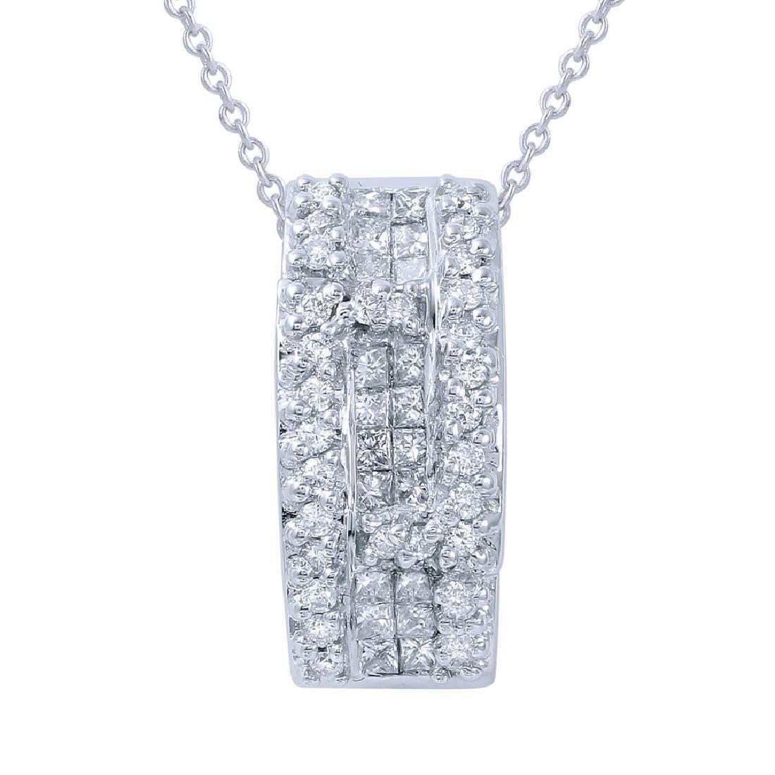 Genuine 1.3 TCW 14K White Gold Ladies Necklace