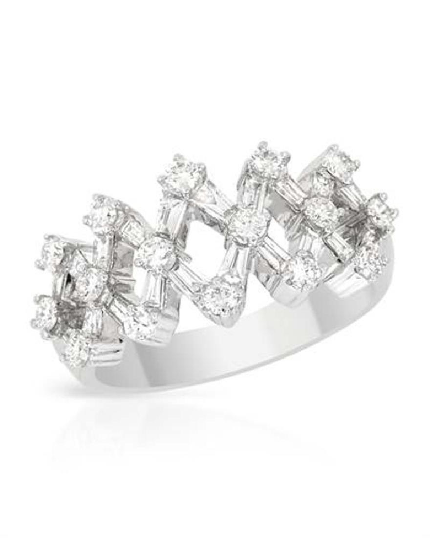 Genuine 1.14 TCW 18K White Gold Ladies Ring