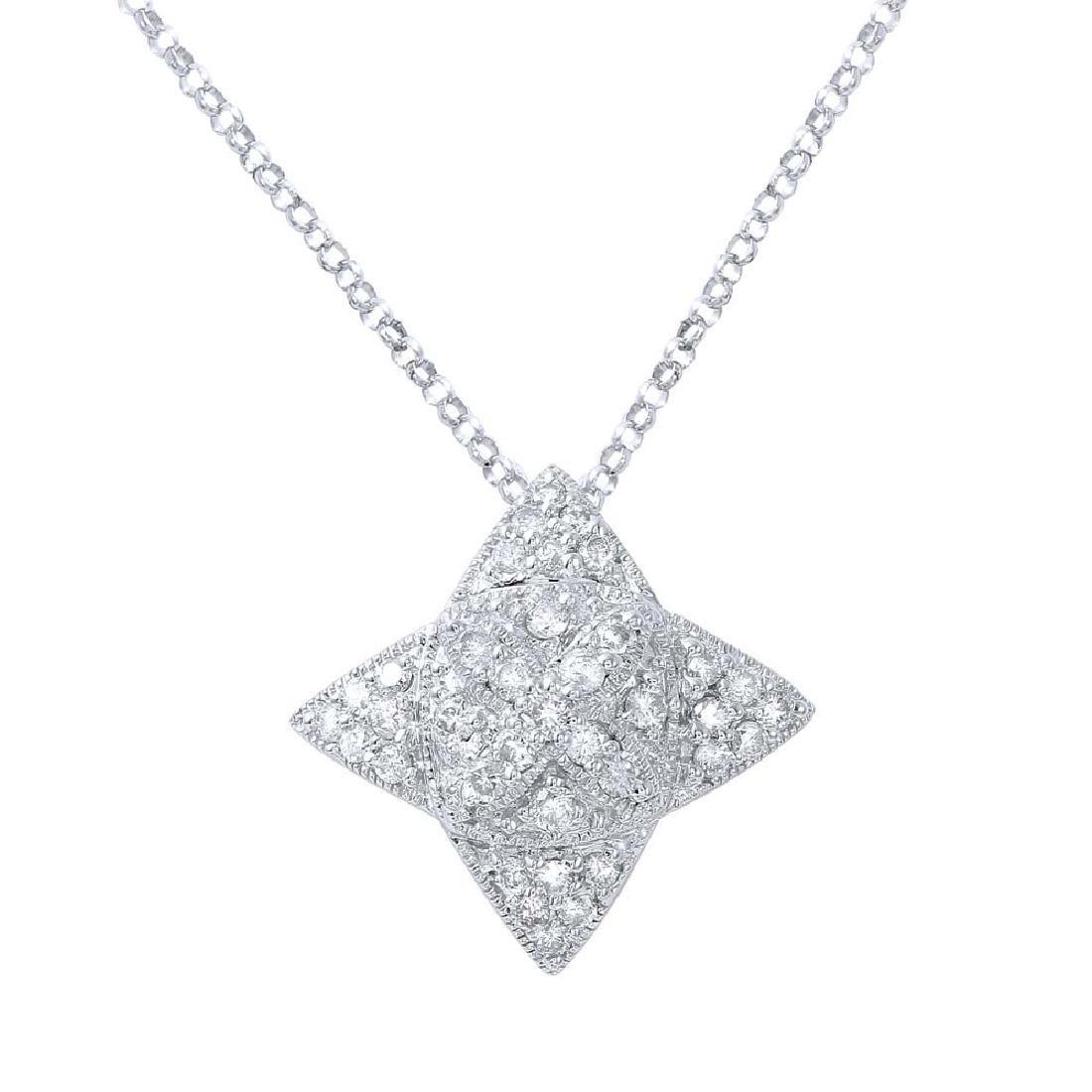 Genuine 0.68 TCW 18K White Gold Ladies Necklace