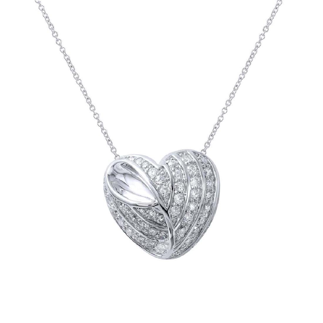 Genuine 0.71 TCW 18K White Gold Ladies Necklace
