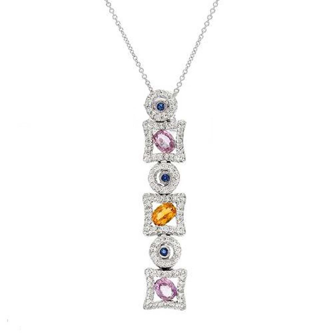 Genuine 1.9 TCW 14K White Gold Ladies Necklace