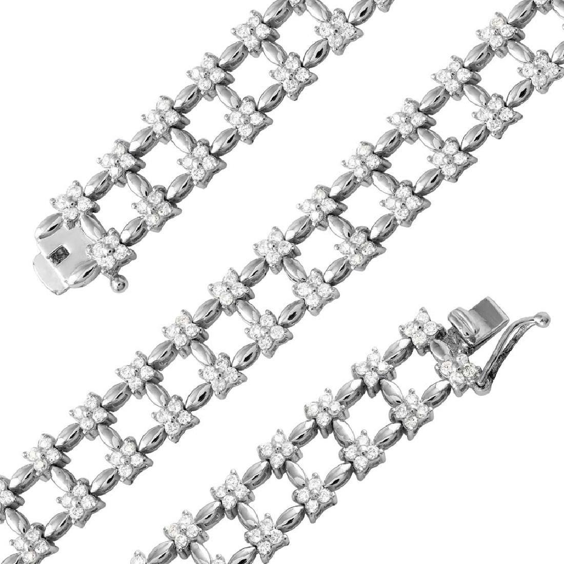 Genuine 3.15 TCW 18K White Gold Ladies Bracelet