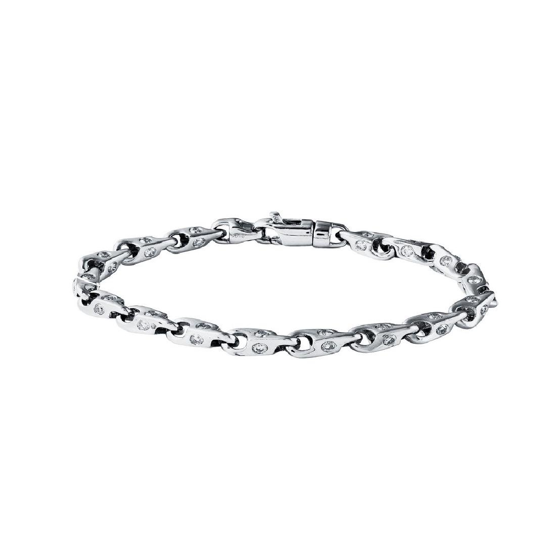 Genuine 1.31 TCW 14K White Gold Ladies Bracelet