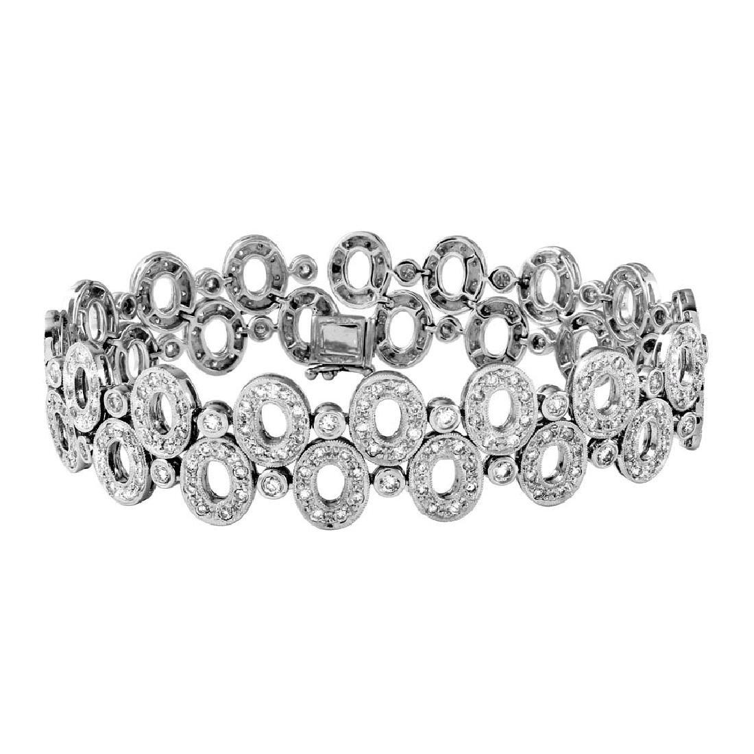 Genuine 4.77 TCW 14K White Gold Ladies Bracelet