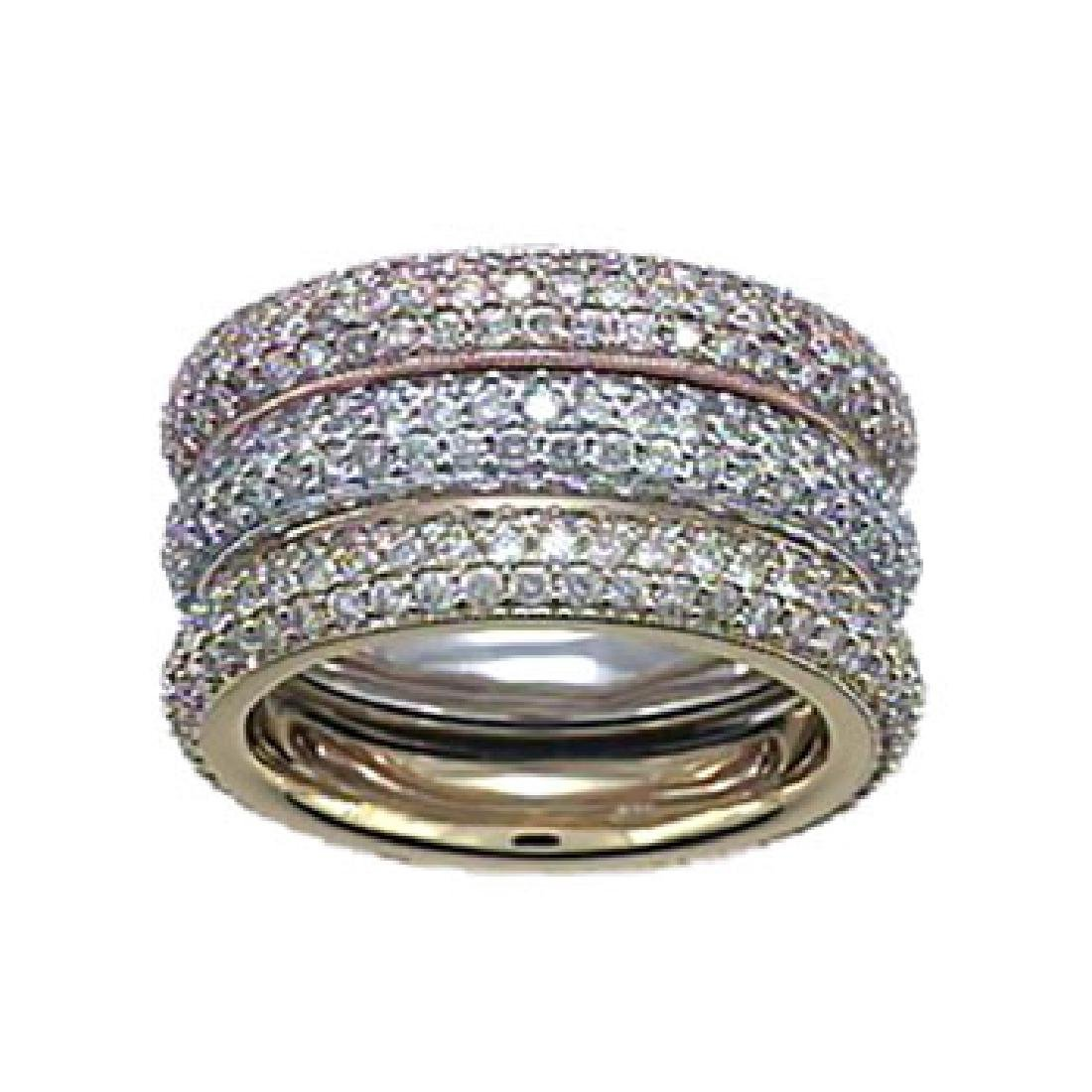 14K Tri Color Gold 4.78CTW Diamond Band Ring