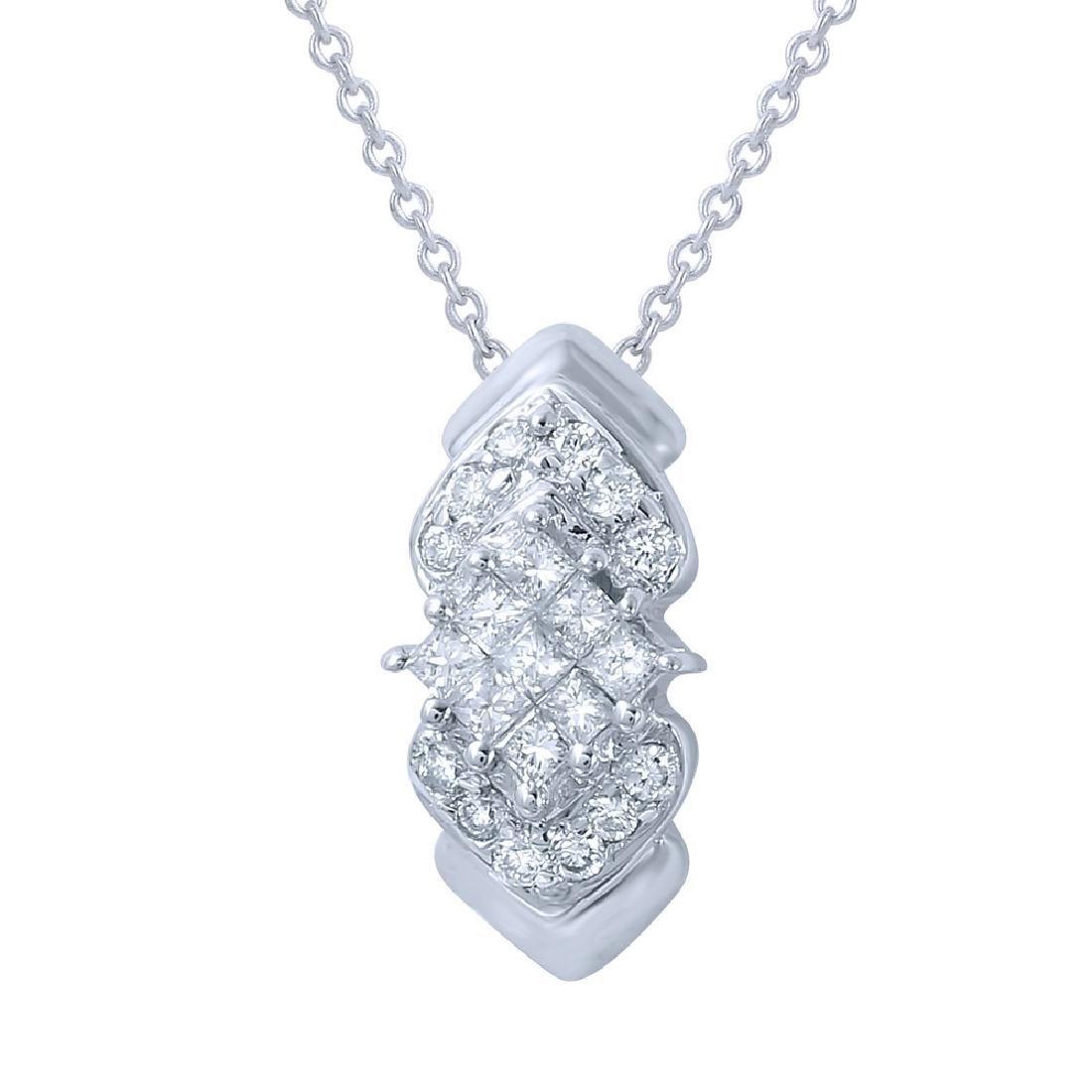 Genuine 0.58 TCW 14K White Gold Ladies Necklace