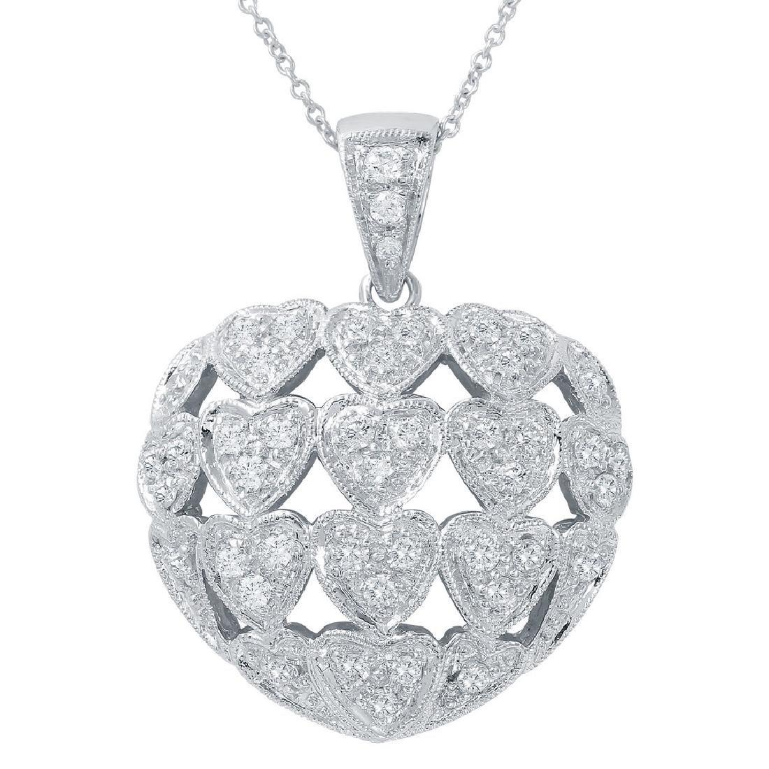 Genuine 0.84 TCW 14K White Gold Ladies Necklace