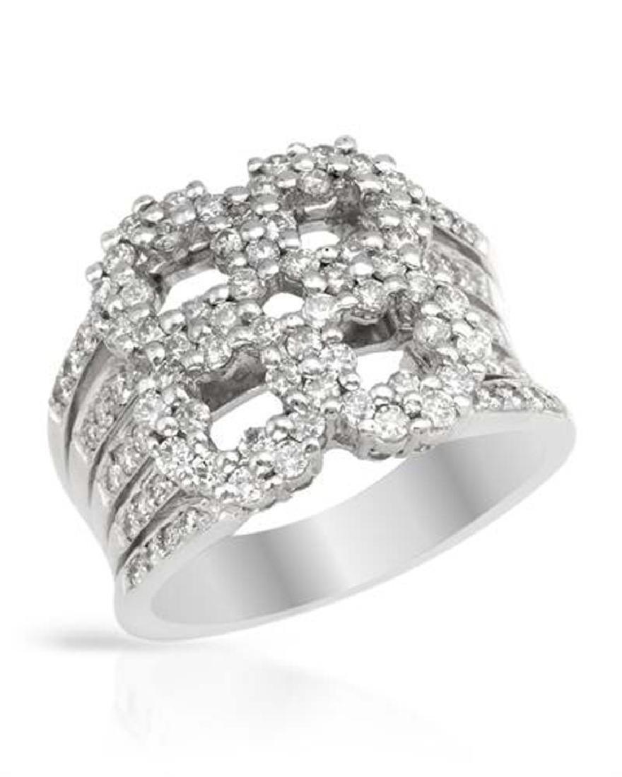 Genuine 1.15 TCW 18K White Gold Ladies Ring