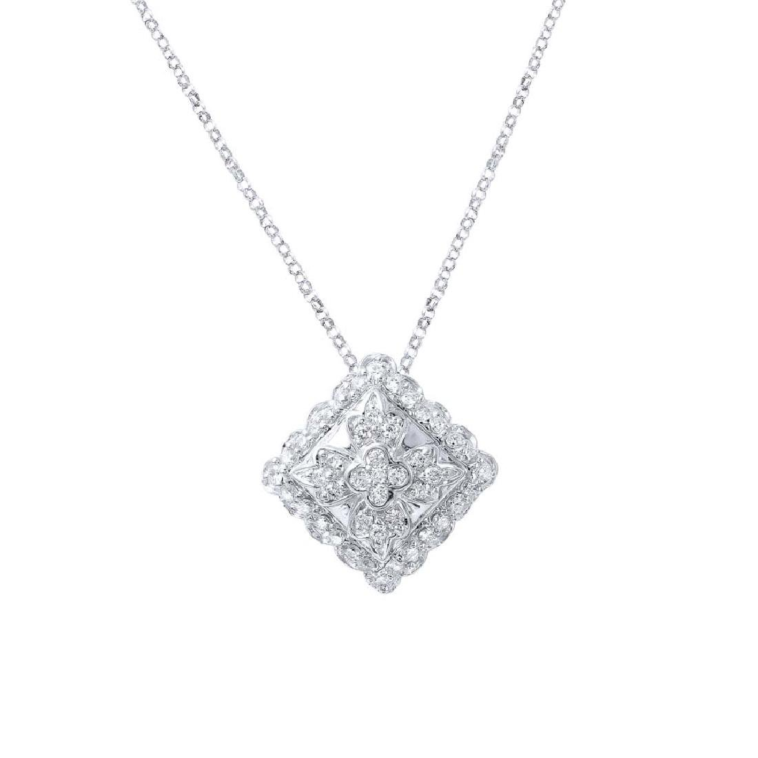 Genuine 0.73 TCW 18K White Gold Ladies Necklace