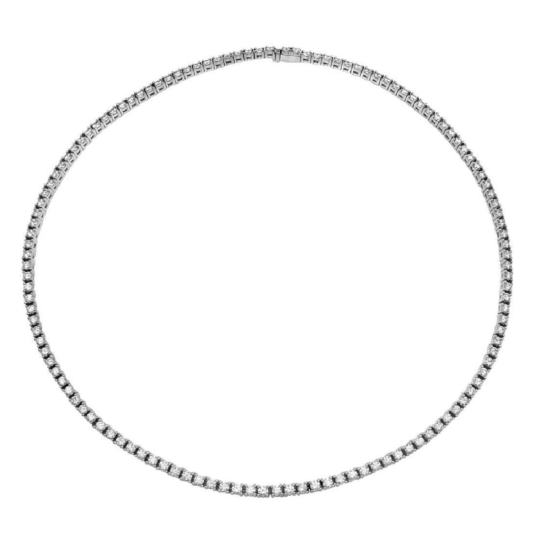 Genuine 11.23 TCW 18K White Gold Ladies Necklace