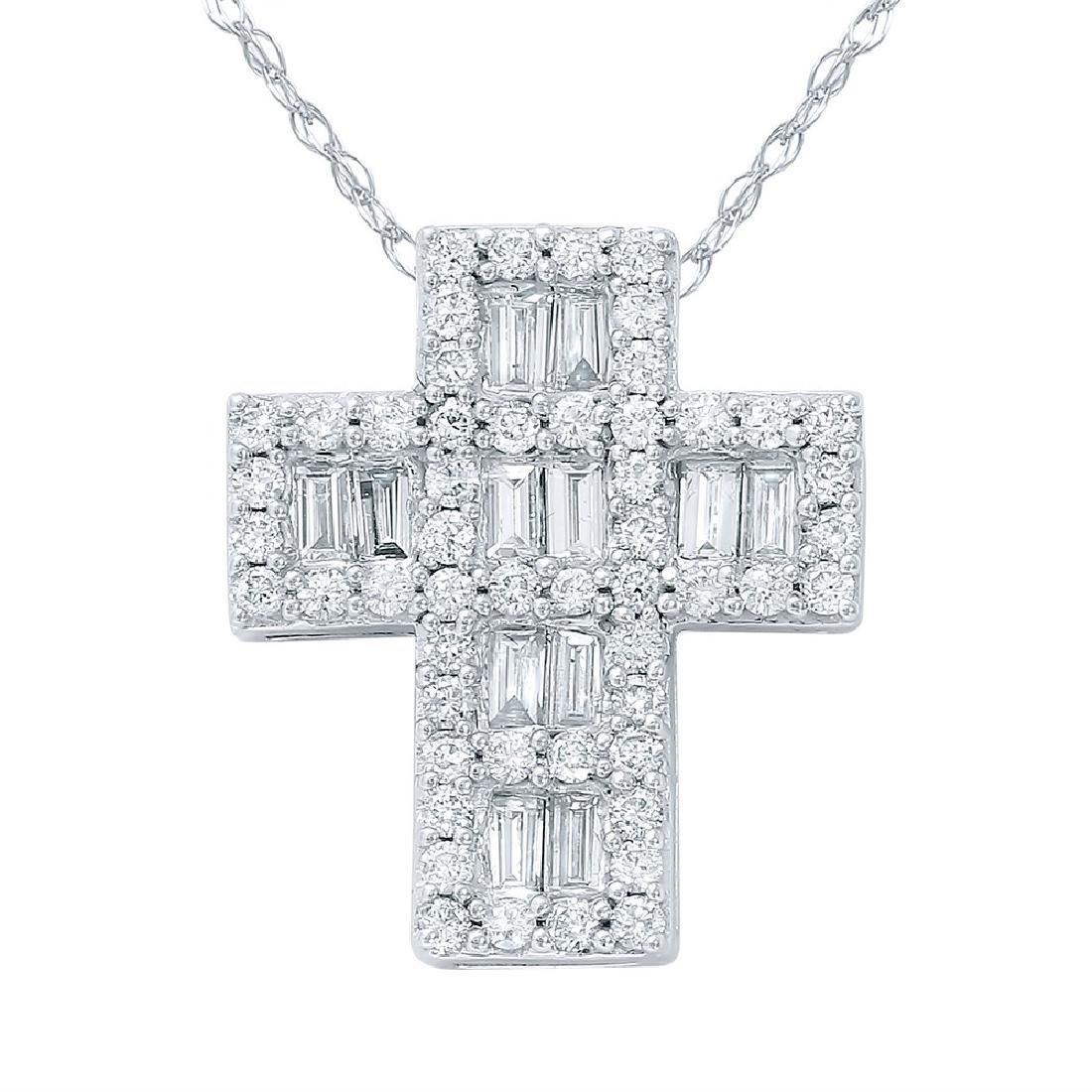 Genuine 1 TCW 14K White Gold Ladies Necklace