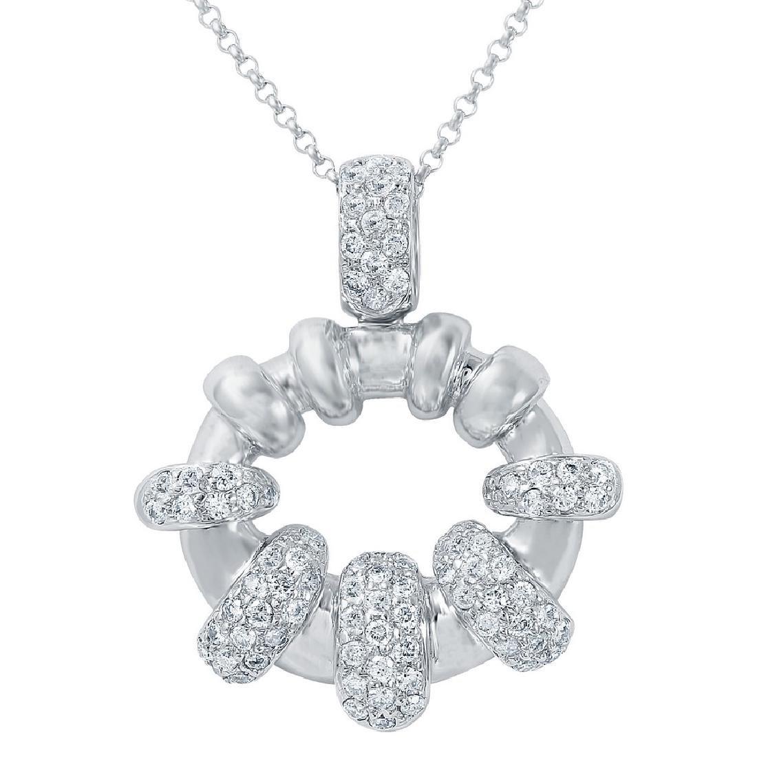 Genuine 0.71 TCW 14K White Gold Ladies Necklace