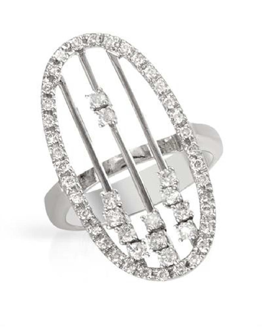 Genuine 0.67 TCW 18K White Gold Ladies Ring