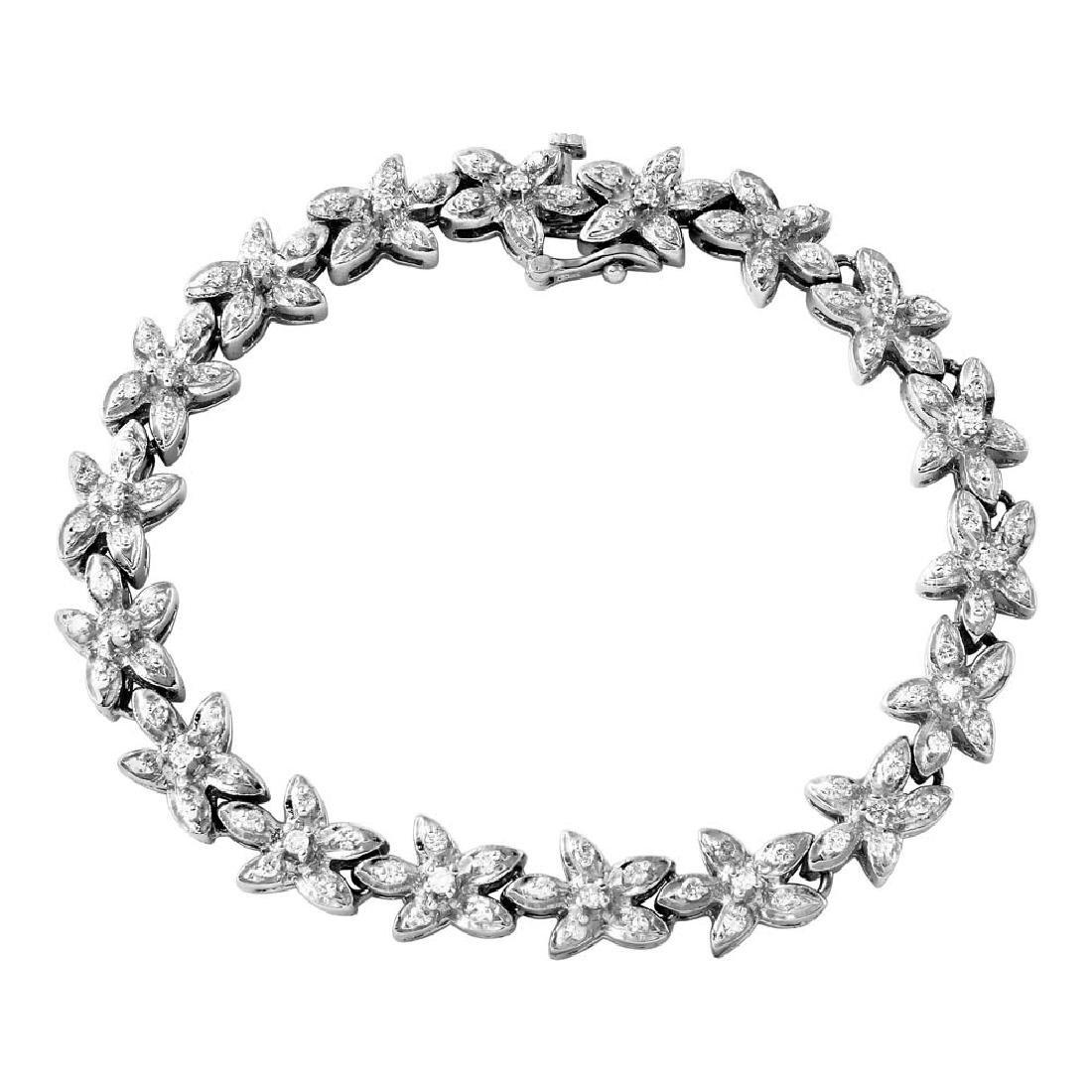 Genuine 1.67 TCW 14K White Gold Ladies Bracelet